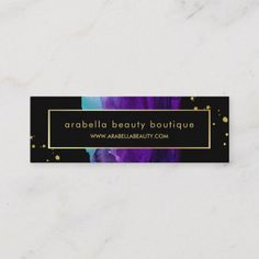 Bold Watercolor Splash with Faux Gold Look Accents Mini Business Card Black Business Card, Business Card Design, Watercolor Business Cards, Gold Watercolor, Watercolor Artists, Referral Cards, Beauty Boutique, Paper Texture, Things To Come