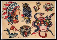 Sailor Jerry Flash Reproduction by kptattooing, via Flickr 0 Love the owl and the Native American girl <3