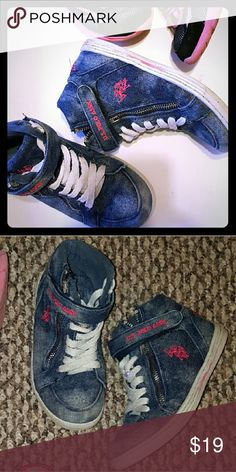 Girls Denim sneakers booties size 1 Used in good condition  Very cute..Denim is not faded it's the style :) U.S. Polo Assn. Shoes Sneakers