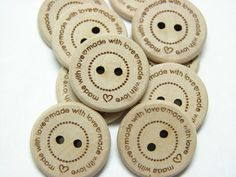 3/4 Wooden Buttons made with love Set of 10 by rememberwynn