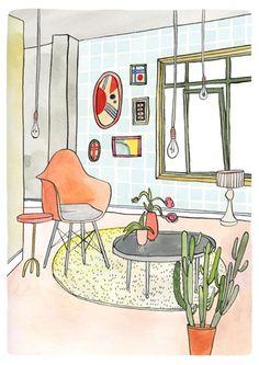 Interior Series - illustration by Bodil Jane