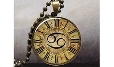 Steampunk Zodiac Cancer pendant, Zodiac necklace charm, Cancer jewelry, birthday gift