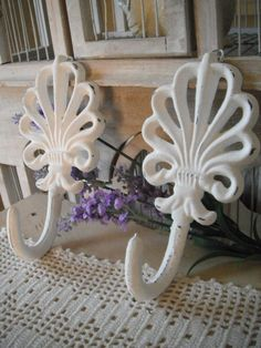 Shabby chic coat hooks cast iron hooks white hooks by ShabbyRoad, $16.00