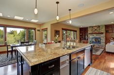 Full_Service_Painting_Contractor Green Granite Kitchen, Gray Kitchen Countertops, Countertop Decor, White Kitchen Island, Cabinets And Countertops, Kitchen Flooring, Dark Cabinets, Backsplash Ideas, Kitchen Backsplash