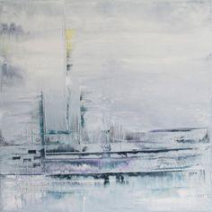 Nadel im Schnee | Malerei von Lali Torma | Acryl auf Leinwand, abstrakt