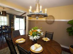 Taupe & Yellow Dining Room with Round Chandelier : Designers' Portfolio : HGTV - Home & Garden Television