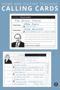 """Home and Visiting Teaching Calling Cards -- Are you a home or visiting teaching supervisor? These printable """"calling cards"""" will make your assignments easier. Editable PDF's as well."""