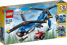LEGO Creator 31049 Helikopter med to rotorer Tænd for de to drejende rotorer på denne kraftfulde maskine, og flyv højt til vejrs. Sænk kranspillet, tag fat i sne-bæltekøretøjet, og flyv det til sit bestemmelsessted. Gennemfør perfekte landinger på is og sne med helikopterens seje landingsski! LEGOCreator 3i1-sættet Helikopter med to rotorer har et avanceret design med lyseblåt og hvidt farvetema og kan ombygges til en snescooter med fungerende spil eller et enmotors fly med drejende…