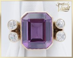 Items similar to Milgrain Set Sapphire Pinky Ring ~ Yellow Gold ~ x mm Created Color Change Purple to Blue Sapphire ~ ~ GIA ~ on Etsy Blue Sapphire, Color Change, Jewels, Mirror, Yellow, Purple, Unique Jewelry, Handmade Gifts, Rings