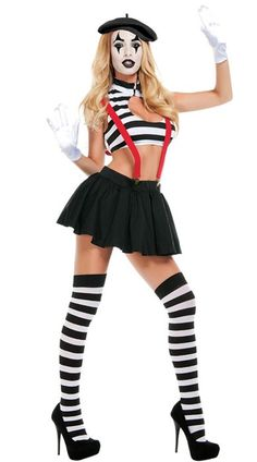 <p>Actions speak louder than words, especially dressed in this <strong>sexy women's Mime costume</strong> by Starline. Top quality Mime fancy dress costume for adults, when all you need are sassy moves at your next silent movie costume party! See below for full description and size details.</p>