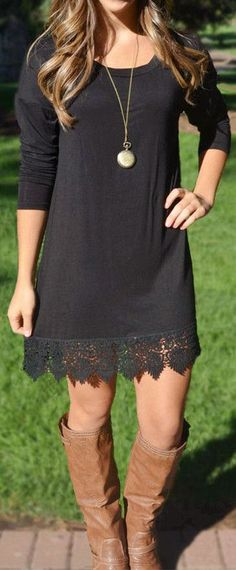 Lace Trim Tunic Dress: I like basic pieces like this with an interesting detail like the lace trim