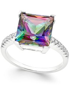 Mystic Topaz (5-1/2 ct. t.w.) and Diamond (1/10 ct. t.w.) Statement Ring in 14k White Gold