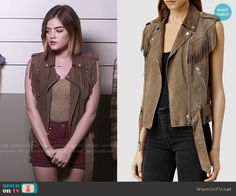 Aria's fringed vest on Pretty Little Liars.  Outfit Details: https://wornontv.net/56276/ #PLL
