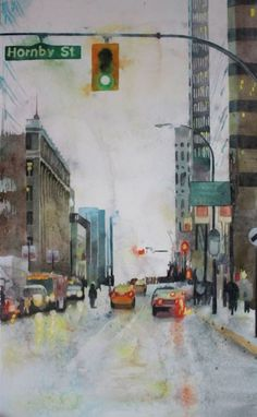 How to paint a rainy cityscape with watercolors, a step by step painting tutorial | ARTiful: painting demos