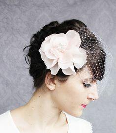 Birdcage veil with fancy lady flower fascinator