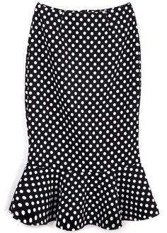 Black Slim Polka Dot Ruffle Skirt - Sheinside.com