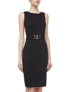St. John Sleeveless Belted Sheath Dress, Onyx