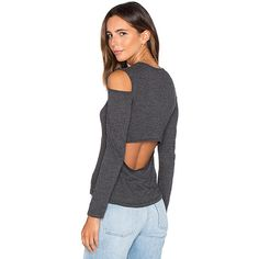 MONROW Open Back Cut Out Tee (330 ILS) ❤ liked on Polyvore featuring tops, t-shirts, fashion tops, cut-out tops, monrow t shirt, open back t shirt, knit top and knit tee