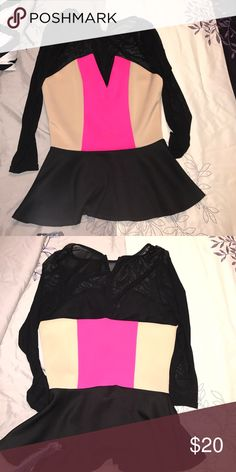 Shirt Fun color block mesh hot pink, beige and black shirt. Fun for a night out. Brand new with tags Arden B Tops Blouses