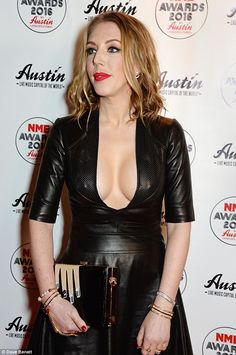 Katherine Ryan steals the spotlight at NME Awards with racy leather dress Katherine Ryan, Michelle Trachtenberg, Tv Presenters, Leather Dresses, Loose Curls, Girl Humor, Blonde Hair, Celebrity Style