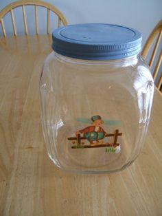 Vintage-1930s-Hazel-Atlas-Hoosier-Glass-Jar-Blue-Lid-With-Dutch-Boy-Decal