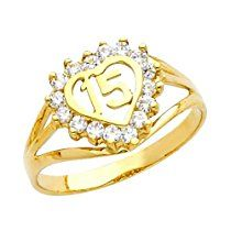 14k Yellow Gold Sweet 15 Anos Quinceanera Heart Ring with Cubic Zirconia