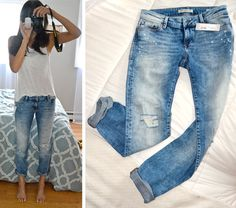 Distressed boyfriend jeans without too many rips and holes.m