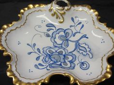 Hand Painted China Serving Dish from 1960's, Blue and Gold Candy Dish, Floral Blue Dish, Serving Dish in Blue, China Dish, Decorative Dish