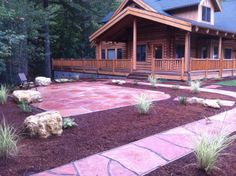 Dry laid Arizona Flagstone patio we installed for our clients new log home.
