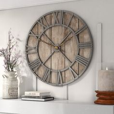 39 Casual Living Room Wall Decor Ideas That Looks Cool Oversized Clocks, Oversized Wall Decor, Kitchen Wall Clocks, Big Wall Clocks, Wall Clock Decor, Farmhouse Wall Clocks, Rustic Wall Clocks, Farmhouse Fireplace, Plywood Furniture