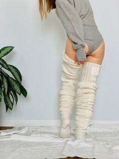 Over Knee Socks, Thigh High Socks, Thigh Highs, Fluffy Socks, Warm Socks, Cable Knit Socks, Lingerie Patterns, Custom Socks, Mascaras