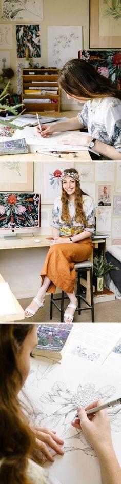 Edith Rewa in her home studio aka 'The Bush Museum' http://thedesignfiles.net/2015/04/edith-rewa/