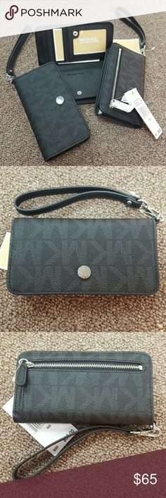 """NWT Michael Kors Phone Case 100% Authentic MK Jet Set Travel Slim Tech Wristlet. Carry your phone in style; fits most models of iPhone, Samsung Galaxy and Blackberry. """"One Size Fits All"""". 5 credit card and 1 ID slot. I will consider all kind offers! MICHAEL Michael Kors Accessories Phone Cases"""