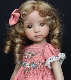 "Smocked & Embroidered Silk Outfit for Dianna Effner's 13"" Little Darling Dolls"