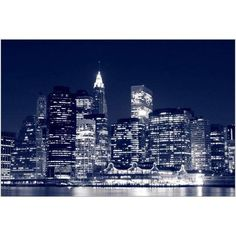 Manhattan Skyline at Night, New York City I Photography by Eazl, Size: 24 x 16, Silver