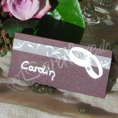 Tischkarte Sandiria mit Ringen lila-zartviolett