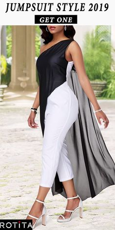 One Shoulder Color Block Chiffon Overlay Jumpsuit : Jumpsuit is a statement style, comfort, easy to wear and just beautiful. Like dresses, jumpsuits come in many styles, so part of pulling off this look is all about finding the right jumpsuit for you. Fashion Wear, Fashion Outfits, Womens Fashion, Mode Kimono, African Fashion Dresses, Chic Outfits, I Dress, Beautiful Outfits, Casual Wear