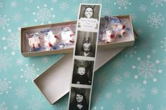 Cute idea for Christmas cards & family picture! See article for pic of box.