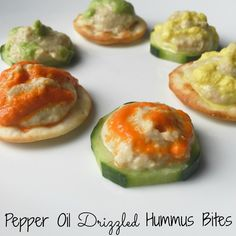 This would make a great snack or appetizer Twitchetts: Pepper Oil Drizzled Hummus Bites