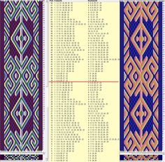 32 cards, 4 colors, repeats every 34 rows, GTT ༺❁ Inkle Weaving Patterns, Weaving Textiles, Loom Patterns, Card Weaving, Weaving Art, Loom Weaving, Finger Weaving, Inkle Loom, Willow Weaving