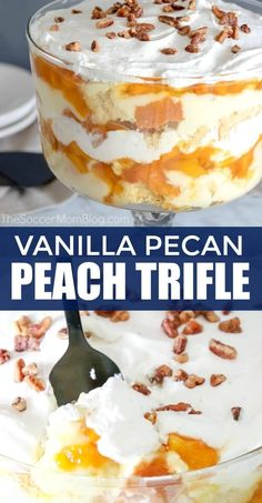 Truly the perfect summer dessert! This easy No Bake Vanilla Pecan Peach Trifle i… Truly the perfect summer dessert! This easy No Bake Vanilla Pecan Peach Trifle is ready in a jiffy and will be gone just as fast! Summer Dessert Recipes, Easy No Bake Desserts, Easy Baking Recipes, Easy Desserts, Delicious Desserts, Best Summer Desserts, Cooking Recipes, Summer Treats, Summer Fruit