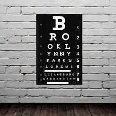 Eye Chart  BROOKLYN NYC Poster  Typography by GoingUnderground, $19.00