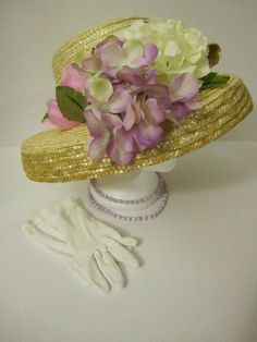 New Tea Party hat and gloves  set. #hydrangea #lilac #pinkrose