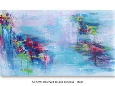 Abstract Waterlilies Painting - Large Original Landscape 48 inches Acrylic Impasto on Canvas