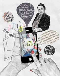 Malin Bergstrom, editorial illustration about mobile apps for short fiction.