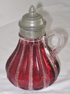 Antique Ruby Flash Syrup Jug Zipper Blown Glass Pitcher Rare