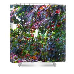 Spring Downpour Painting Shower Curtain by Shelly Weingart