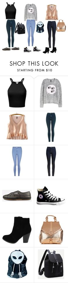 Untitled #28 by zinnt on Polyvore featuring H&M, Barbour, Topshop, New Look, Superga, Converse and Current Mood