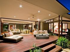What is a Modern Garden? Outdoor Living Rooms, Outside Living, Outdoor Dining, Dining Area, Living Spaces, Timber Deck, Outdoor Areas, Outdoor Patios, Backyard Patio
