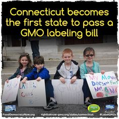 CT became the first state to pass a bill that would require food manufacturers to label products that contain GMOs — but only after other conditions are met. Gov. Malloy said he would sign the bill into law,  but the law would not take effect unless four other states, at least one of which shares a border with CT, passed similar regulations.  Read more here: http://righttoknow-gmo.org/news/connecticut-approves-genetic-labeling